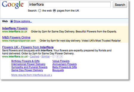 Interflora Marks and Spencer Google Adwords Example 2009