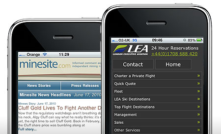 Two examples of mobile websites