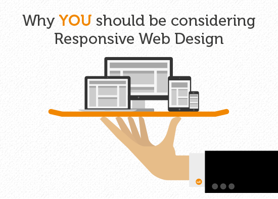 An image of a hand holding a tray with a desktop computer, tablet, smartphone and mobile phone balanced on top. Accompanied by the words: Why YOU should be considering Responsive Web Design